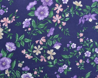 Cotton Floral Fabric, Cotton Fabric, Navy Blue Fabric, Navy Floral, Fabric by the yard, Cotton Quilting Fabric - 1 Yard - CFL2202