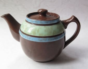 Sadler Teapot Made in England Staffordshire Vintage Individual Teapot Brown Green Blue Stripe Pottery Brown Betty Red Clay Style