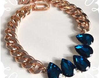 Sharon: Blue Crystal Rosegold Necklace
