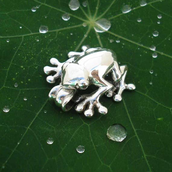 Silver Frog Pendant , Hand Made Solid Silver , Silver Jewelery