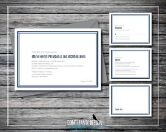 Simple Printable Wedding Invitation Set - Navy Blue Modern Digital Printable Invitation and RSVP Set Navy