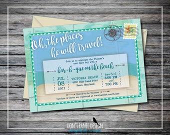 Printable Baby Shower Invitation - Travel Map Travel Baby Shower - Tribal, Gender Neutral, Compass Rose, Postcard Invitation - Custom Color