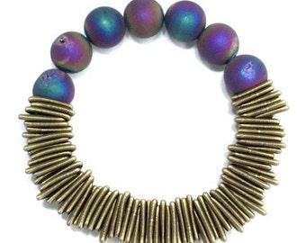 Piano Wire Bracelet Bronze with Geode stones