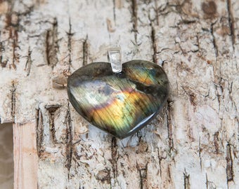 Colourful labradorite heart pendant, heart of the ocean, natural untreated golden blue, great flash spectrolite stone, sterling silver