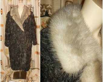 Vintage Fur Coat 1950s Persian Lamb Fur Coat Huge Sapphire Mink Collar Silver Mink Fur Gorgeous Floral Satin Lining Must See!  L chest to 43
