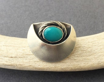Crescent Turquoise Celestial Ring- Size 8