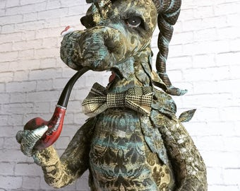 Made to order Puff Puff Dragon faux taxidermy  | dragon |steampunk | stuffed head | wall mount | whimsical | pipe | bowler hat | art