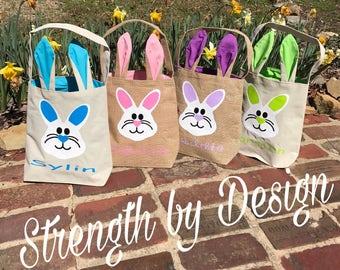 Easter basket,canvas easter basket,burlap easter bag,personalized easter basket,monogrammed easter bag,easter bunny basket,bunny basket