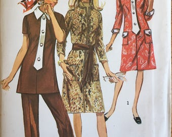 UNCUT 1970s Misses' and Women's Dress or Tunic and Pants Simplicity Pattern 9170