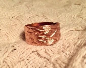 "Copper ""v"" hand stamped ring"