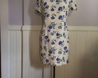 Women's Vintage Clothing / 1980's Jones New York Dress / 100 % Cotton Size 12 Short Sleeve Dress