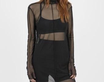 Sheer Dress, Mesh Dress, Black Sexy Tunic, Sexy Night Gown, Mesh Babydoll