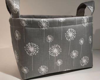 Fabric Storage Basket Bin Organizer Storage Container- White Dandelions on Gray with Solid Light Gray Interior