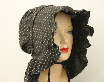 1800s slat bonnet | vintage black sunbonnet