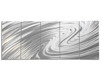 Modern Metal Art 'The Wave' by Nate Halley - Soothing Wavy Artwork Silver Wall Decor on Natural Aluminum