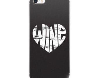 Vintage Wine Heart Graphic iPhone Cell Phone Case in Black - 5/5s/Se, 6/6s, 6/6s Plus or 7/7 Plus