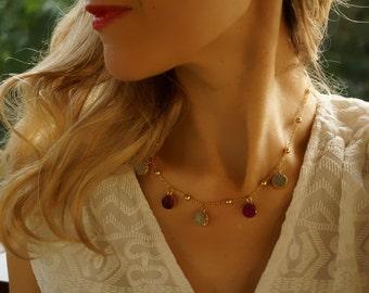 Nancy - Petite Druzy Titanium Agate Gold Plated Statement Necklace