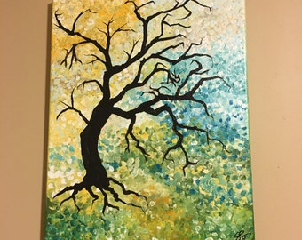 "Original Handmade Original Art- Acrylic Painting on Canvas: Abstract Black Tree with a Yellow, Green, & Blue Whimsical Background 11""x14"""