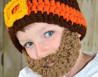 Beard Hat- Brown Orange Gold - All sizes- Bearded Beanie