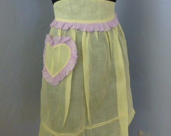 Vintage Apron With Heart Pocket Yellow and Lavendar Sheer Fabric