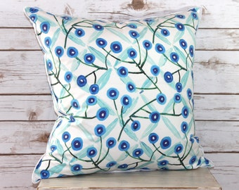 Cotton Blue and White Floral Print Pillow