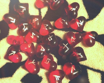 LIMITED EDITION  25pc  <3 Heart <3  Elder Futhark Rune Set with Bag