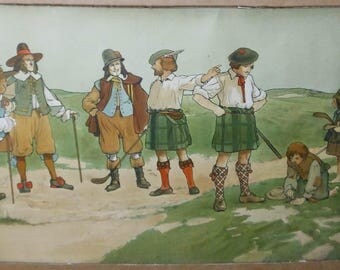 vintage rare golfing poster in color lithograph signed