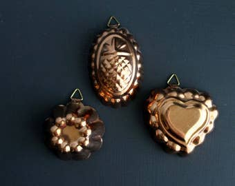Vintage Copper and Tin Miniature Molds Jello Molds set of Three 3