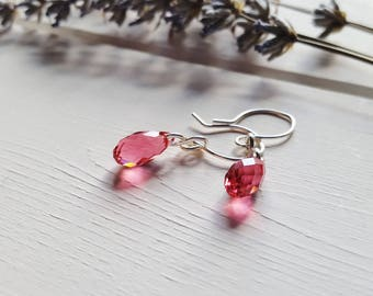 Naomi - Simple Pink Crystal Drop Earrings, Ready to Ship
