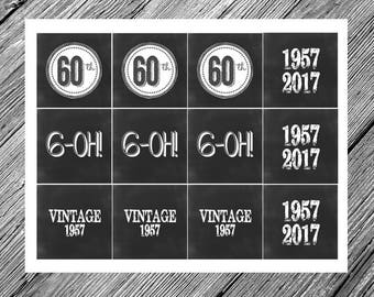 Chalkboard Vintage 60th Birthday Party Circles -- Favor Tags, Cupcake Toppers, Table Decoration