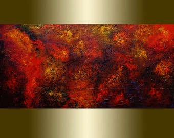 Oil Painting Abstract red yellow palette knife