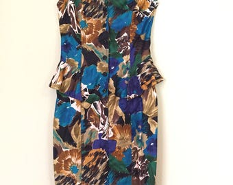 90s Caché abstract floral peplum dress