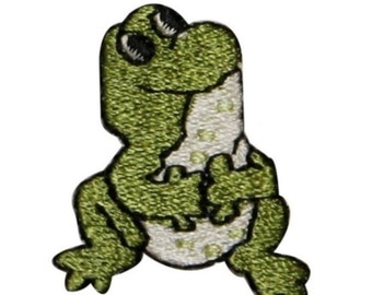 ID 0018A Sitting Frog Looking Up Emboidered Iron On Applique Patch