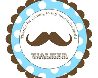 Mustache Round Labels Stickers for party favors, gift tags, or address labels