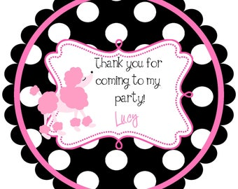 Pink Poodle Round Labels Stickers for party favors, gift tags, or address labels  paris- french - france