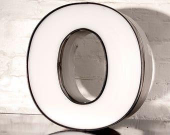 "Vintage Channel Letter ""O"" in White"