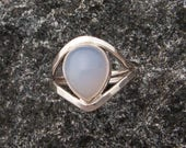 Blue Chalcedony Ring, Blue Chalcedony Hammered Silver Statement Ring, Goddess Ring
