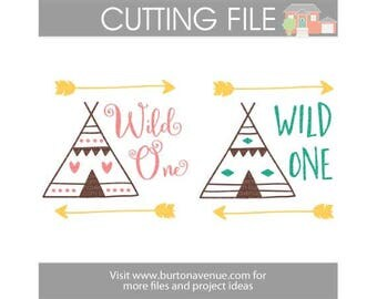 Wild One cut file for Cricut, Silhouette, Instant Download (eps, svg, gsd, dxf, ai, jpg, and png)