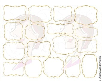 Glitter Gold Frame Clipart Sparkle Digital Frames And Borders Commercial Use LARGE 10 inch Label Tags Wedding Clip Art 10339
