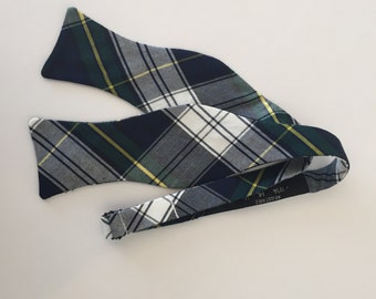 Men and Teen's Christmas Plaid in Green, Yellow, Navy Bow Tie