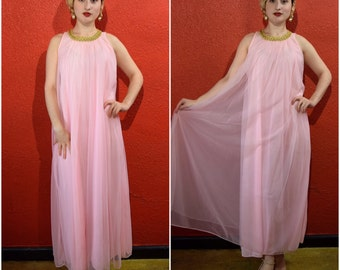 1960s Pink Sheer Lounge Dress Sequin Trim One size