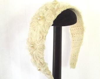 Wedding Headband - Floral Hair Accessory - Vintage Bridal - Vintage Headband - Victorian Wedding - Fascinator - Quinceanera Hair