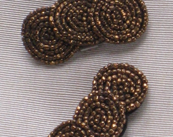 Pair of Petite Copper Beaded Shoe Clips - Vintage Antique - Accessory, Supplies