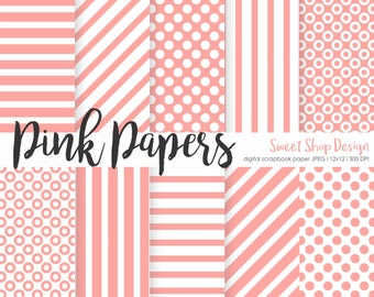 Pink Digital Paper, Printable Scrapbook Paper Pack, 12x12, Pink, Stripes, Dots, Set of 10 Papers