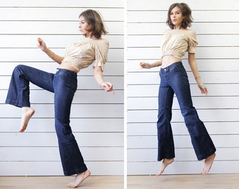 Vintage fitted bell bottom mid rise waist dark blue flares jeans pants XXS XS