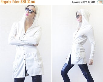 50% OFF Vintage white cotton knit long sleeve hooded cardigan sweater tunic hoodie top