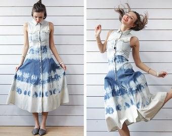 90s Vintage bleached blue white cotton denim button up sleeveless shirt ankle length maxi dress XS