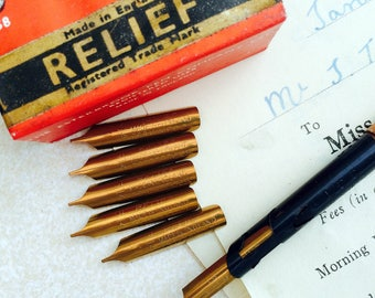 Relief dip pen nibs from R.Esterbrook & Co vintage unused nibs. Set of 6 nibs. Made in England.