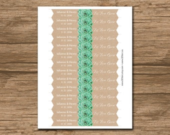 "Succulent Flag 3x0.75"" - PRINTABLE file Wedding Straw Flags, Party Flags, Cupcake Toppers - personalized - Julianne"