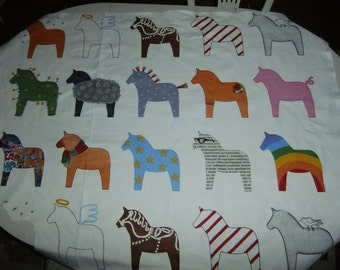 Vintage Swedish Dalahorses IKEA cotton fabric